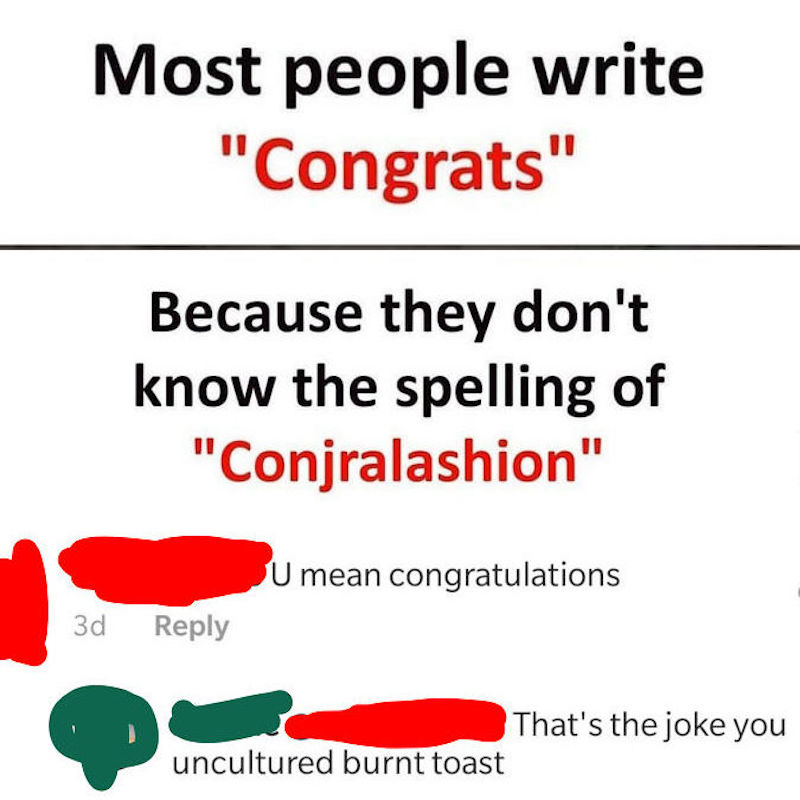 Congratulations on your spelling skills