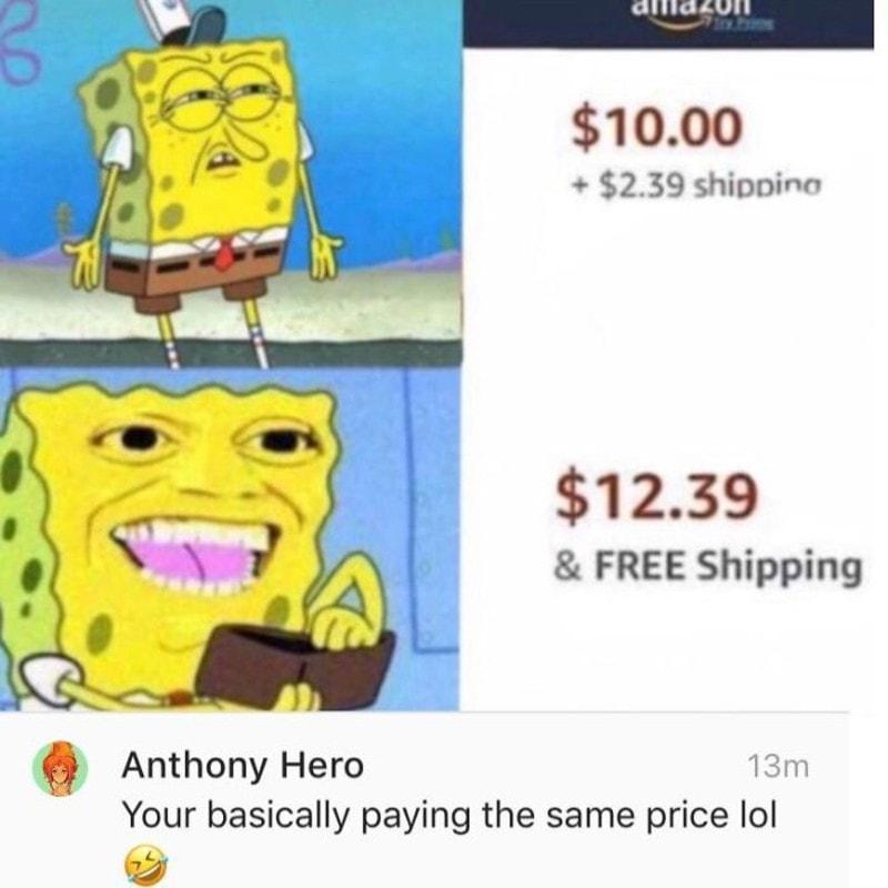 SpongeBob loves free shipping